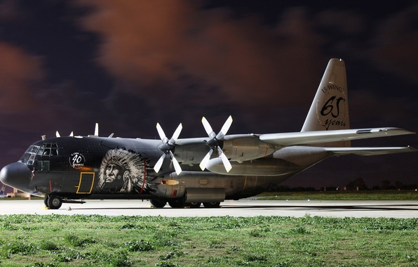 Picture the plane, the airfield, military transport, C-130, (CH-13)