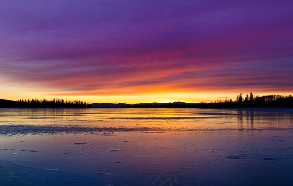 Picture the sky, clouds, trees, landscape, sunset, nature, lake, reflection, paint, ice, colors, ice, sky, trees, …