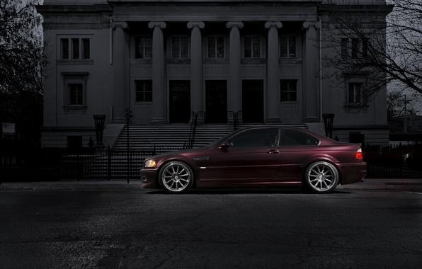 Picture the building, bmw, BMW, profile, columns, Burgundy, e46, claret