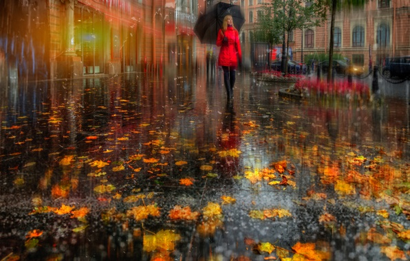 Picture autumn, girl, the city, street, foliage, umbrella, Peter, in red, Saint Petersburg