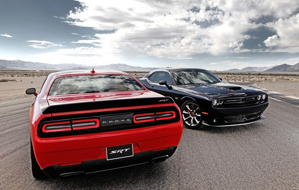 Picture road, the sky, clouds, red, black, Dodge, Dodge, Challenger, rear view, the front, Muscle car, …