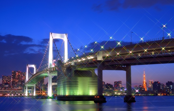 Picture the sky, clouds, night, bridge, lights, glare, building, home, Japan, lighting, Tokyo, lights, Bay, Tokyo, …