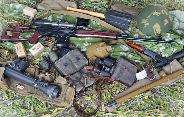 Picture pomegranate, binoculars, cartridges, sight, helmet, SVD, 62 mm, bayonet knife, Dragunov sniper rifle