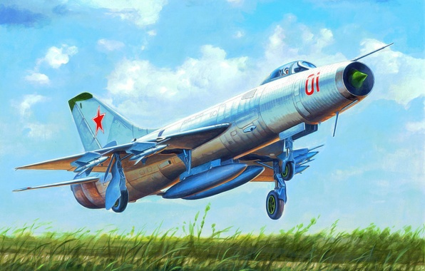 Picture art, airplane, painting, aviation, jet, Soviet Su-9 Fishpot