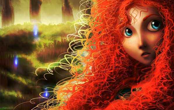 Picture forest, girl, face, lights, art, freckles, red, curls, brave, merida