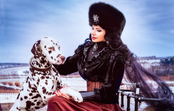 Picture girl, hat, dog, brunette, outfit, Dalmatians, fur