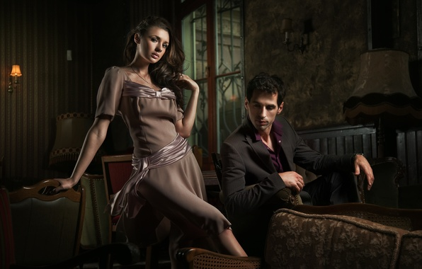 Picture look, girl, twilight, dress, window, chairs, male, brown hair, jacket, lamps