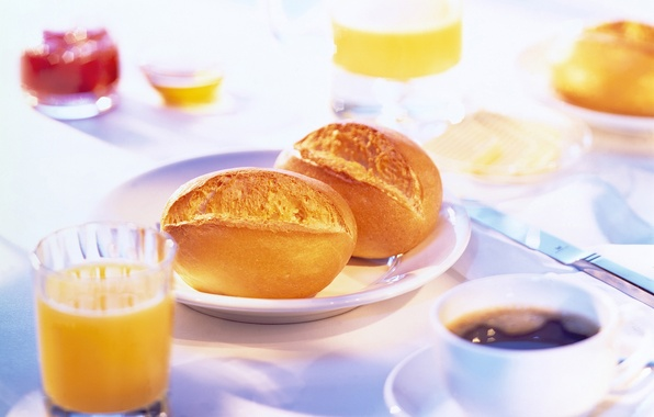 Picture table, coffee, food, Breakfast, morning, juice, buns, serving