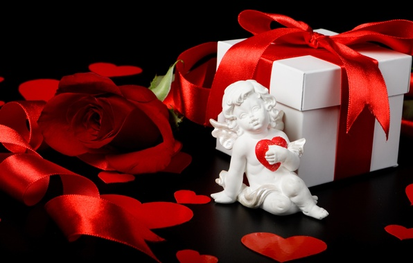 Picture box, gift, rose, tape, hearts, red, rose, box, hearts, Cupid, Valentine's day, Valentine's Day, Gift, …