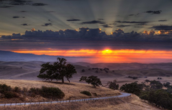 Picture road, field, the sky, the sun, clouds, sunset, the fence, valley, horizon