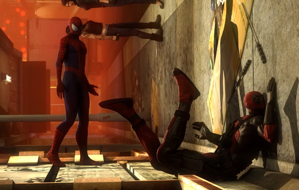 Picture wall, blow, Deadpool, marvel comics, Spider-Man