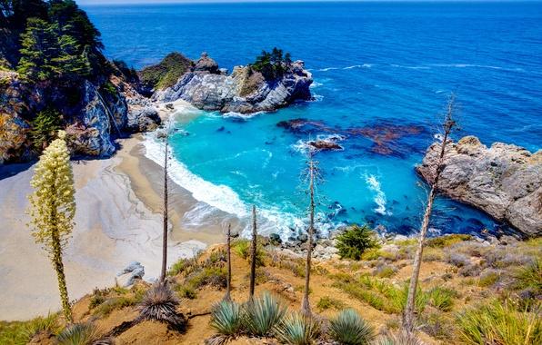Picture sand, stones, rocks, coast, waterfall, Bay, horizon, CA, USA, Sunny, The Pacific ocean, Julia Pfeiffer …