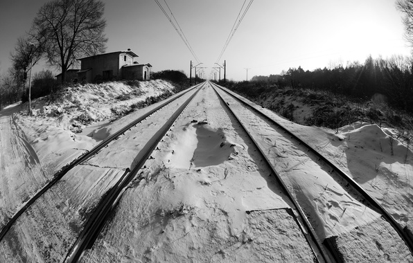 Picture winter, snow, perspective, black and white, railroad