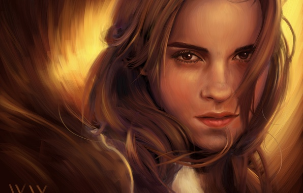 Picture girl, face, art, Emma Watson, Emma Watson