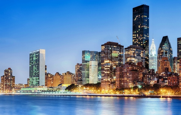 Picture the city, lights, river, building, home, New York, skyscrapers, the evening, USA, USA, Manhattan, New …