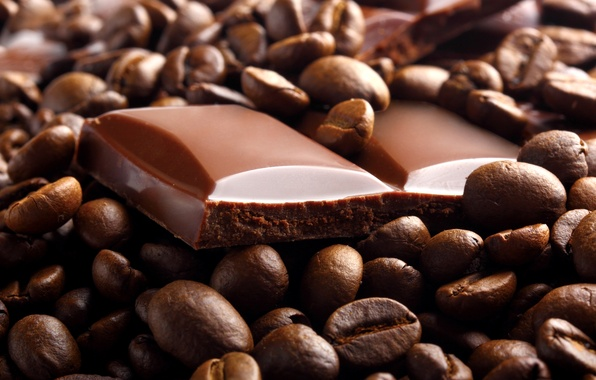 Picture coffee, food, chocolate, grain, slices, sweet