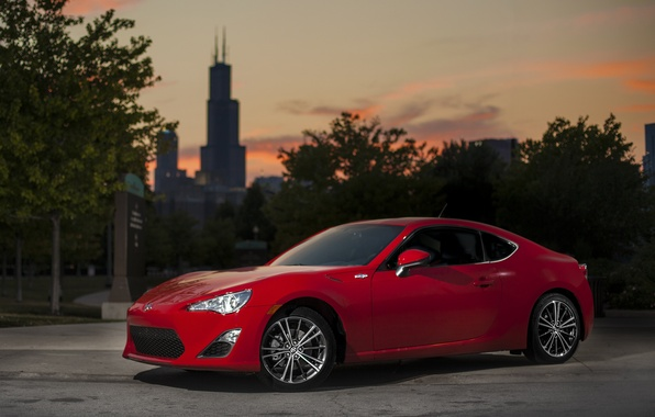 Picture red, the city, car, Chicago, Scion FR-S
