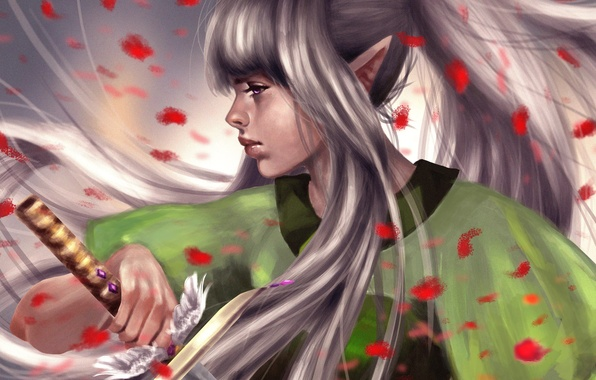 Picture girl, weapons, fiction, art, profile, elf