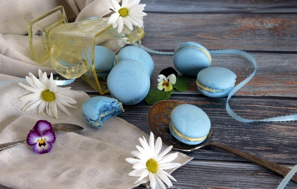 Picture flower, Daisy, tape, cakes, viola, macaroon