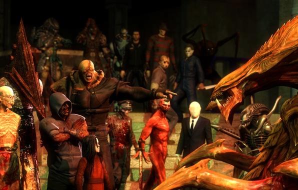 Picture horror, Alma, Silent Hill, Nemesis, hunter, characters, Zerg, Slenderman, Slender, Outlast, xenomorph, Richard Trager, Nemesis-T …