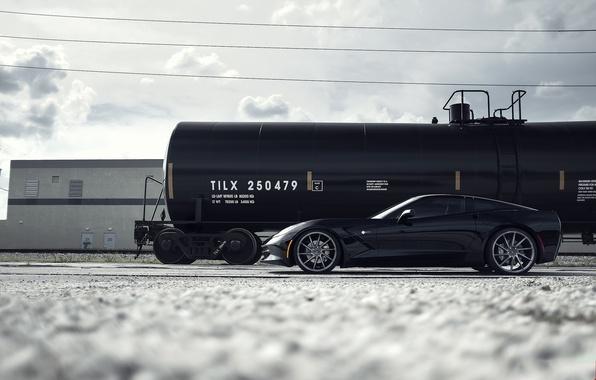 Picture black, Corvette, Chevrolet, profile, wheels, Chevrolet, drives, black, Stingray, Corvette, tank