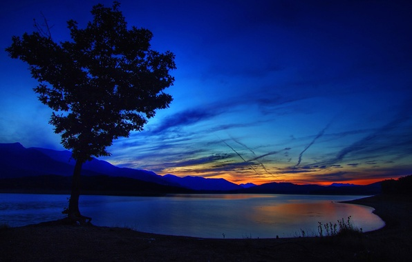 Picture the sky, clouds, sunset, mountains, nature, lake, tree, glow