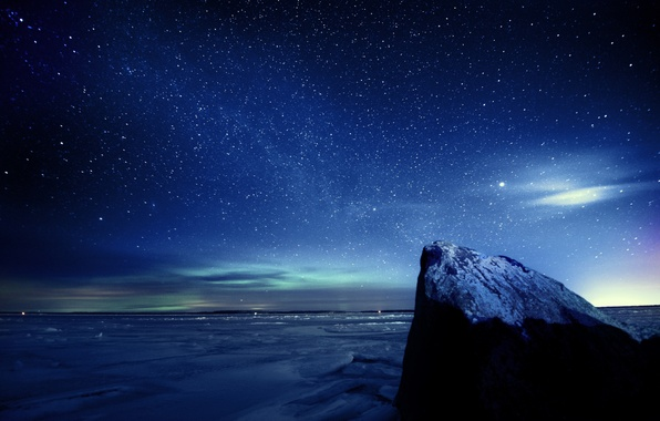 Picture ice, winter, the sky, stars, night