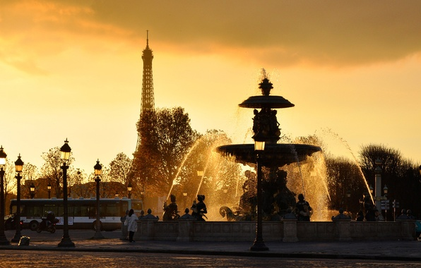 Picture Eiffel tower, france, WATER, The SKY, DROPS, SQUIRT, SUNSET, LIGHTS, FOUNTAIN, JET, PARIS, FRANCE, PARIS