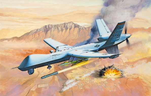 Photo Wallpaper Art Painting Drone Avaition MQ 9 Reaper Predator
