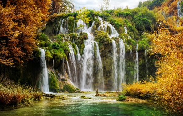 Picture autumn, rock, lake, waterfall, Croatia, Plitvice National Park