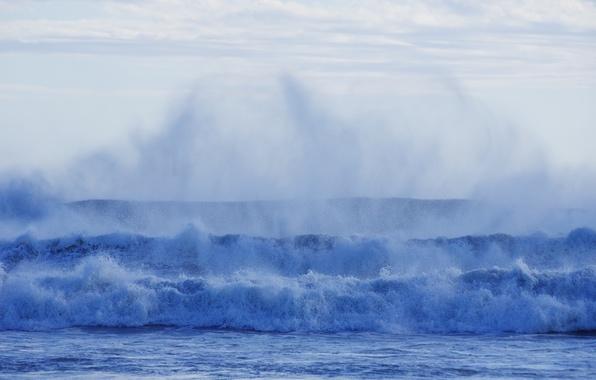 Picture sea, wave, foam, water, squirt, blue, element, shore, surf
