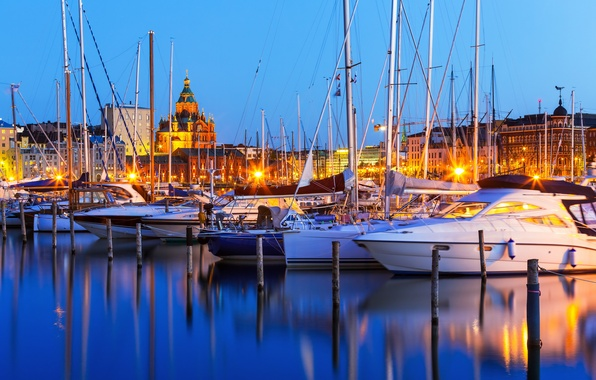 Picture yachts, port, night city, harbour, Finland, Finland, Helsinki, Helsinki