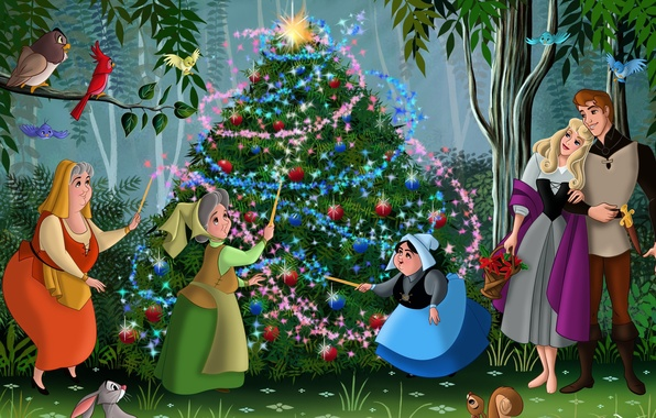 Picture forest, birds, cartoon, tale, Rose, New Year, Christmas, Aurora, Prince, tree, forest, Christmas, friends, Princess, …