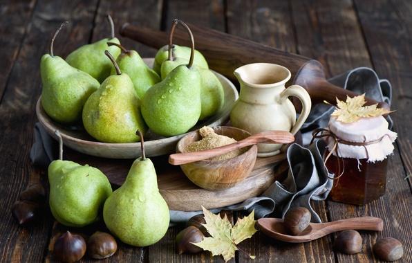 Picture autumn, leaves, honey, fruit, still life, pear, jar, chestnuts, Anna Verdina
