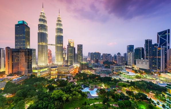 Picture night, skyscrapers, megapolis, Malaysia, Kuala Lumpur