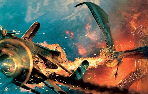 Picture flight, the plane, castle, fire, flame, dragon, fantasy, battle, the battle, Forbidden, Sucker Punch