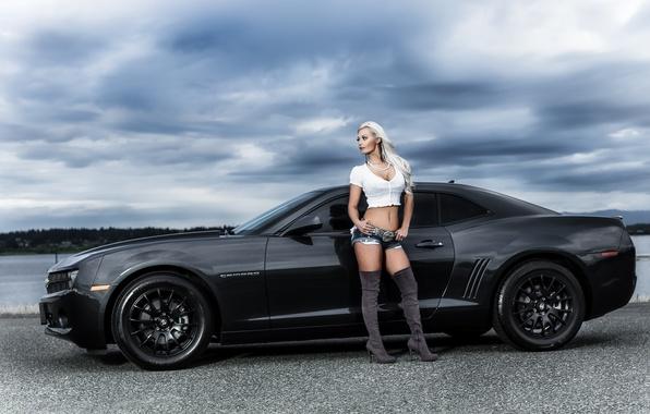 Picture road, girl, black, shorts, camaro, chevrolet, Camaro, Chevrolet