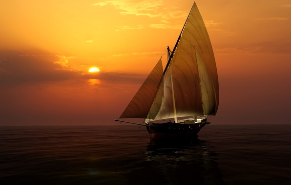 Picture sea, the sky, the sun, sunset, yacht, horizon, sail