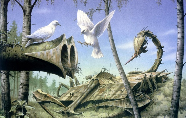 Photo wallpaper forest, weapons, the world, silence, pigeons, RODNEY MATTHEWS, Peace at Last
