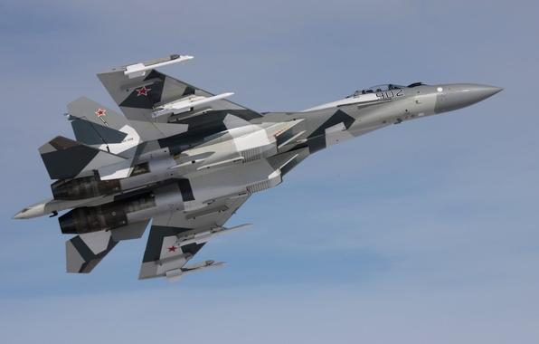 Picture the sky, grey, fighter, bomber, multipurpose, super-maneuverable, su 35, Sukhoi