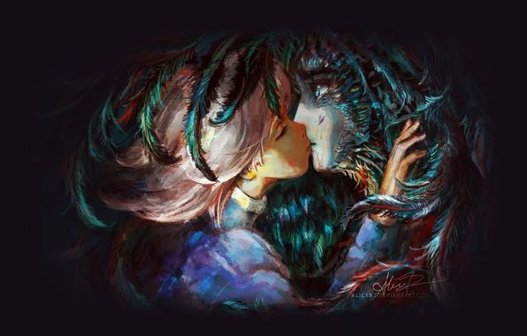 Picture kiss, feathers, Hayao Miyazaki, art, Hayao Miyazaki, Howl's moving castle, Howl's Moving Castle, Howl, Sophie …