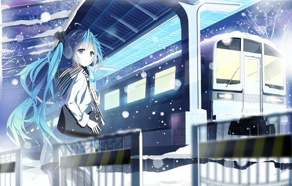 Picture winter, girl, snow, train, station, art, bag, vocaloid, hatsune miku, siji