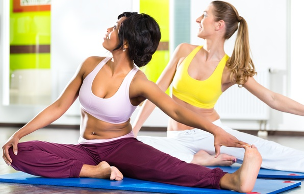 Picture women, yoga, class, stretching