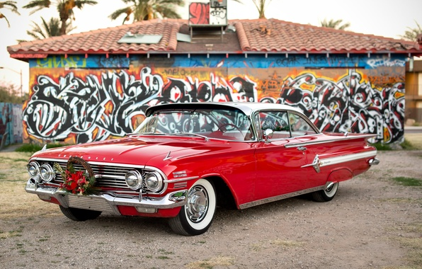 Picture red, Chevrolet, 1960, the front, Impala