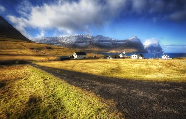 Picture landscape, village, Faroe Islands