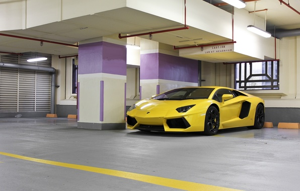 Picture yellow, lamp, lighting, Parking, lamborghini, yellow, aventador, lp700-4, Lamborghini, aventador