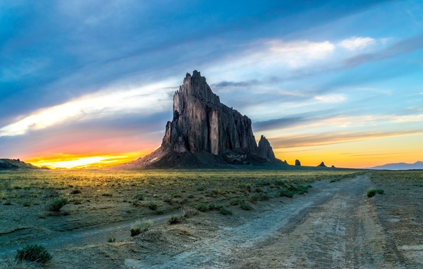 Picture dawn, desert, mountain, monument valley