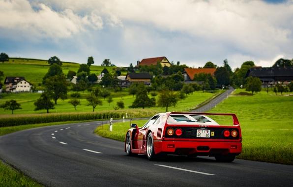 Picture road, field, the sky, grass, clouds, lamp, village, back, Ferrari, F40