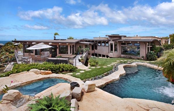 Picture sea, the sky, clouds, design, house, stones, lawn, coast, Villa, pool, the bushes