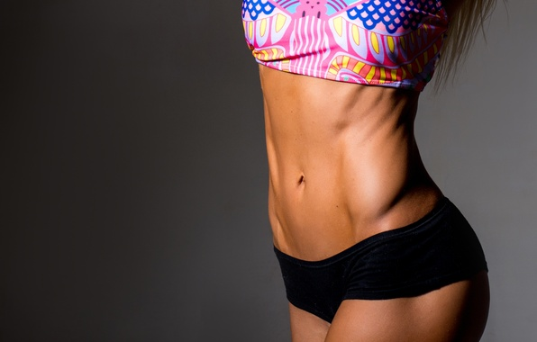 Photo wallpaper woman, fitness, abs, sportswear